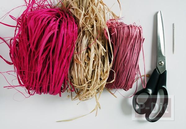 รูป 2 ตะกร้าใส่ดอกไม้ ทำจากเชือกสีสวย