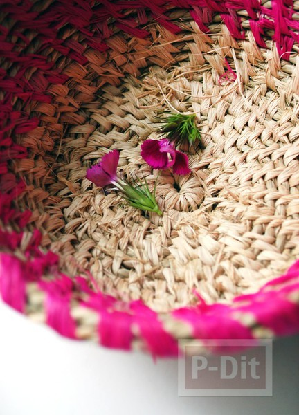 รูป 4 ตะกร้าใส่ดอกไม้ ทำจากเชือกสีสวย