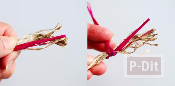 รูป 5 ตะกร้าใส่ดอกไม้ ทำจากเชือกสีสวย
