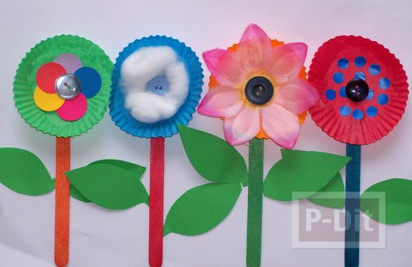 ดอกไม้กระดาษ ทำจากถ้วยกระดาษคัพเค้ก