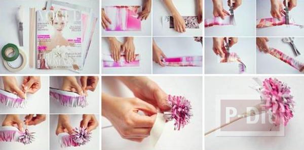 รูป 3 ดอกไม้สวยๆ ทำจากกระดาษนิตยสาร