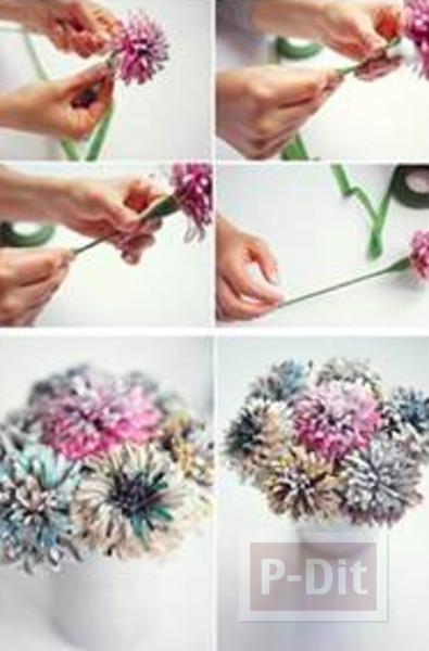 รูป 4 ดอกไม้สวยๆ ทำจากกระดาษนิตยสาร
