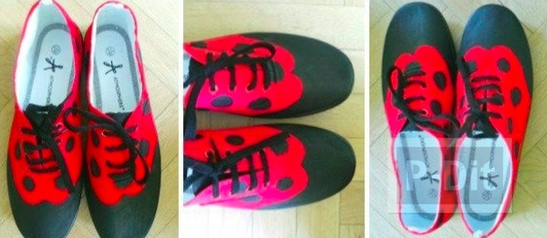 รองเท้าผ้าใบ ตกแต่งสีสวย ด้วยสีย้อมผ้า