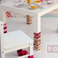 ไอเดียตกแต่งขาโต๊ะ ด้วยถุงเท้าลายสวย