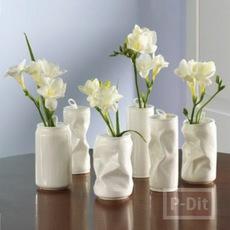 แจกันดอกไม้ ทำจากกระป๋องเก่าๆ