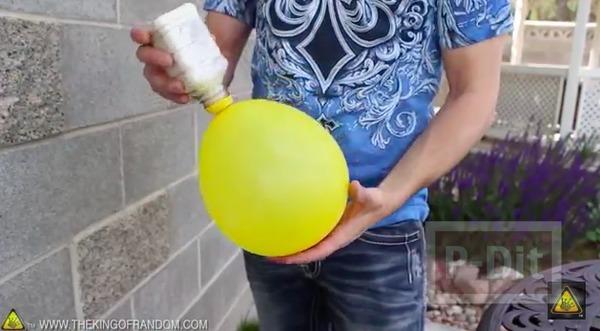 รูป 6 ลูกบอลนินจา ทำจากลูกโป่ง ใส่แป้ง
