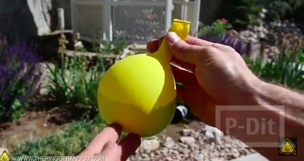 รูป 7 ลูกบอลนินจา ทำจากลูกโป่ง ใส่แป้ง