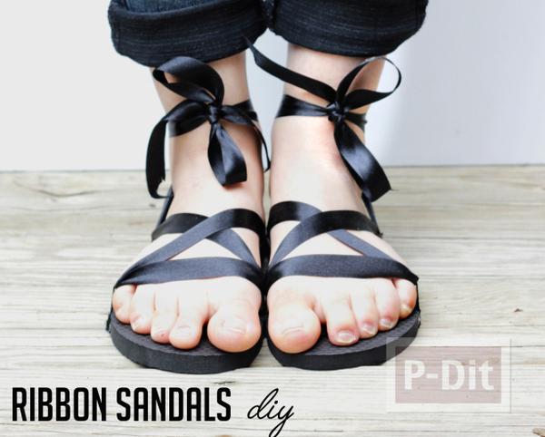 รองเท้าแตะ ตกแต่งสวยๆ ร้อยริบบิ้น สีดำ