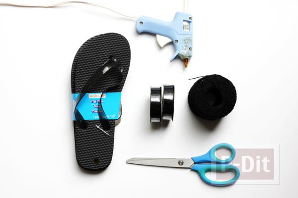 รูป 2 รองเท้าแตะ ตกแต่งสวยๆ ร้อยริบบิ้น สีดำ