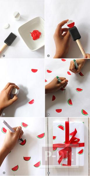 รูป 2 กระดาษห่อของขวัญ ลายแตงโม น่ารักๆ