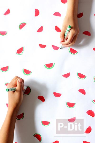 รูป 3 กระดาษห่อของขวัญ ลายแตงโม น่ารักๆ