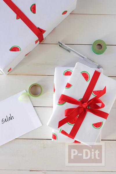 รูป 4 กระดาษห่อของขวัญ ลายแตงโม น่ารักๆ