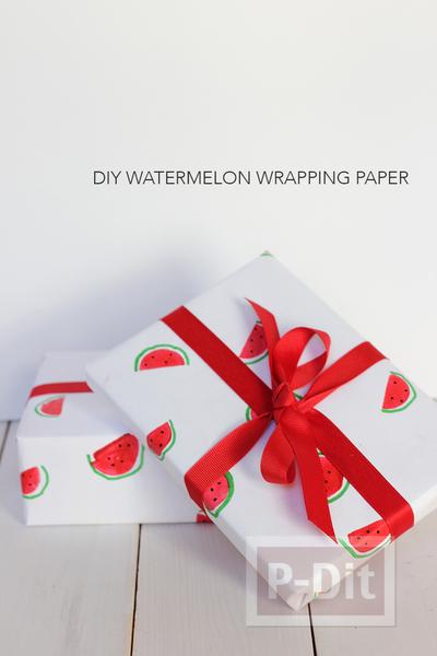 รูป 6 กระดาษห่อของขวัญ ลายแตงโม น่ารักๆ