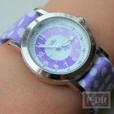 สอนทำสายนาฬิกาข้อมือ จากผ้าสีสวย ลายจุด