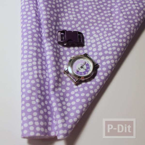 รูป 2 สอนทำสายนาฬิกาข้อมือ จากผ้าสีสวย ลายจุด