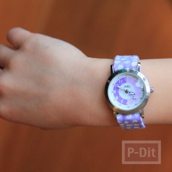 รูป 3 สอนทำสายนาฬิกาข้อมือ จากผ้าสีสวย ลายจุด