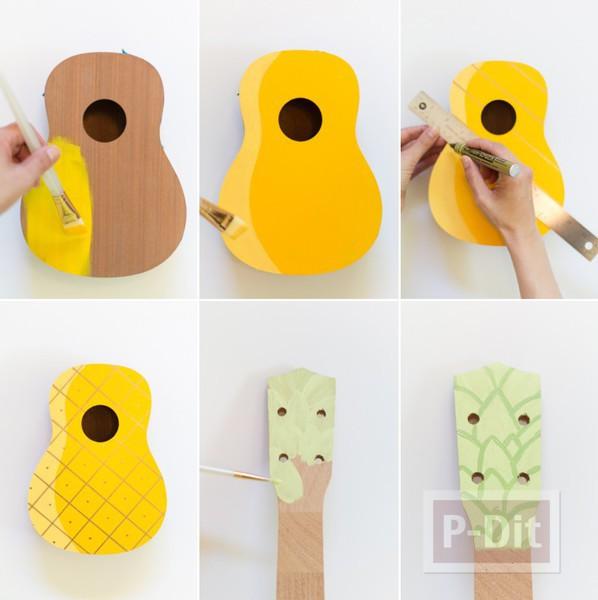 รูป 2 ระบายสีอูคูเลเล่ (ukulele) เป็นรูปสัปปะรด