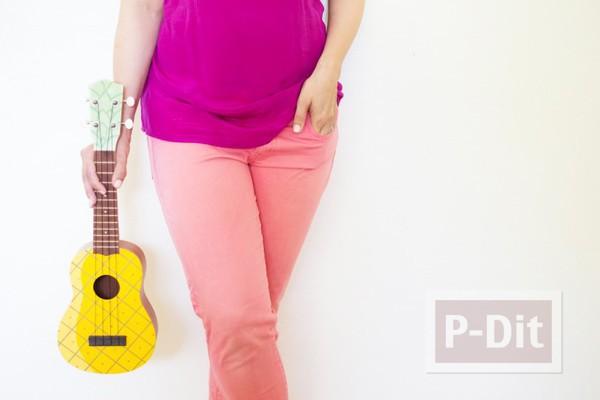 รูป 4 ระบายสีอูคูเลเล่ (ukulele) เป็นรูปสัปปะรด