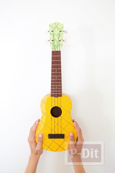 รูป 5 ระบายสีอูคูเลเล่ (ukulele) เป็นรูปสัปปะรด