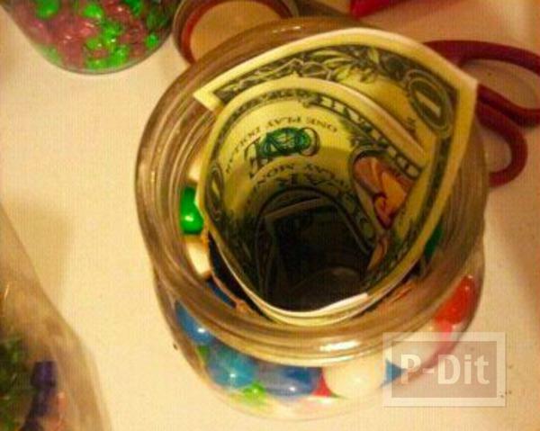 รูป 5 ไอเดียของขวัญ ขวดแก้วใส่ลูกบอล มีเงินแอบอยู่ด้านใน