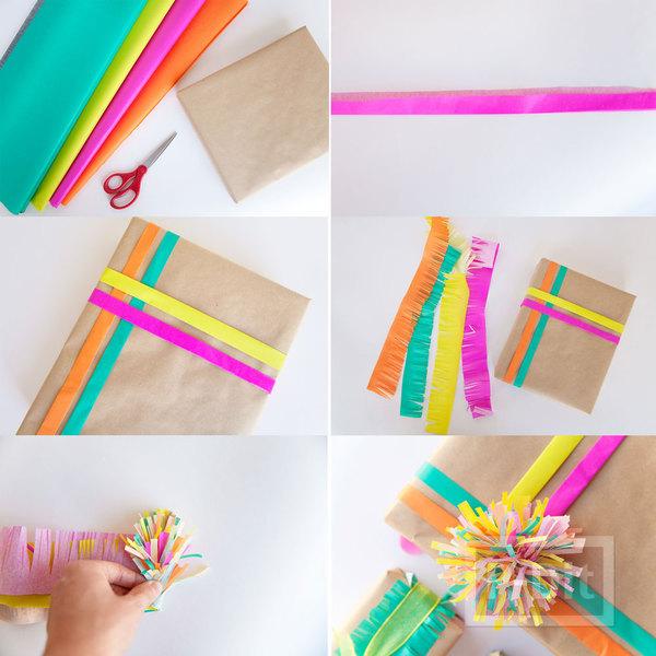 รูป 4 ห่อกล่องของขวัญสวยๆ ด้วยกระดาษสีสดใส