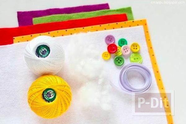 รูป 2 พวงกุญแจไอศกรีมคัพเค้ก ทำจากผ้าสักกะหลาด