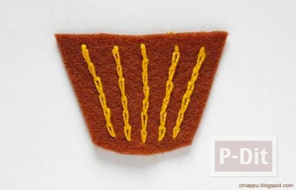 รูป 6 พวงกุญแจไอศกรีมคัพเค้ก ทำจากผ้าสักกะหลาด