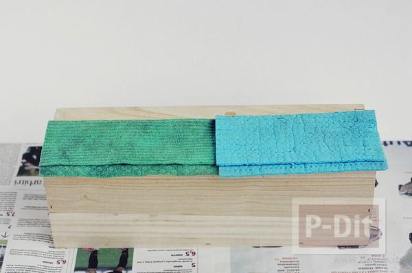 รูป 3 ระบายสีกล่องใส่ดินสอ สีฟ้าใส