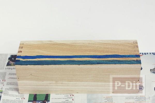 รูป 5 ระบายสีกล่องใส่ดินสอ สีฟ้าใส