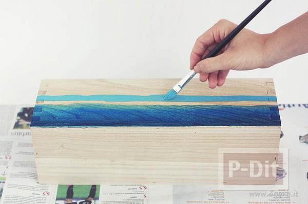 รูป 7 ระบายสีกล่องใส่ดินสอ สีฟ้าใส