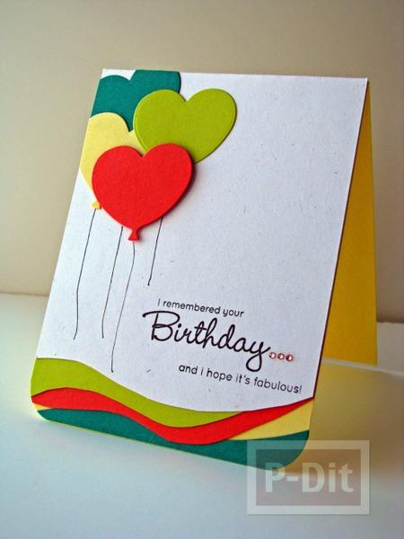 การ์ดวันเกิด ลูกโป่งหัวใจทำจากกระดาษ น่ารักๆ