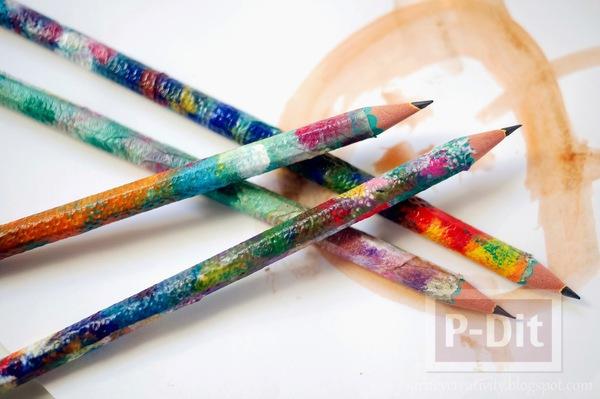 รูป 1 ตกแต่งห่อกระดาษสีสวย หุ้มดินสอไม้