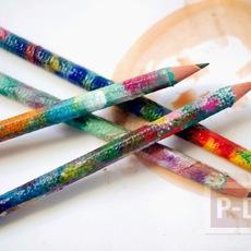 ตกแต่งห่อกระดาษสีสวย หุ้มดินสอไม้