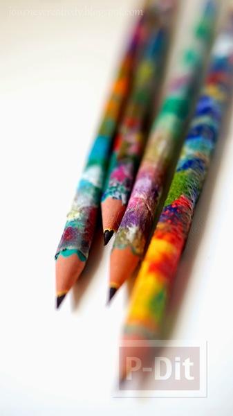 รูป 7 ตกแต่งห่อกระดาษสีสวย หุ้มดินสอไม้