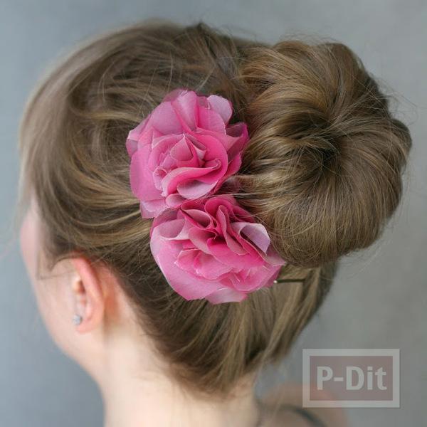 กิ๊บติดผม ทำจากผ้าสีสวย เย็บติดเป็นดอกไม้