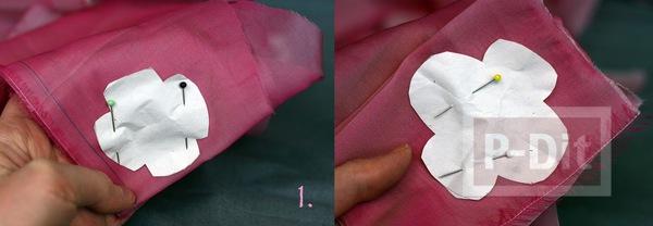 รูป 3 กิ๊บติดผม ทำจากผ้าสีสวย เย็บติดเป็นดอกไม้