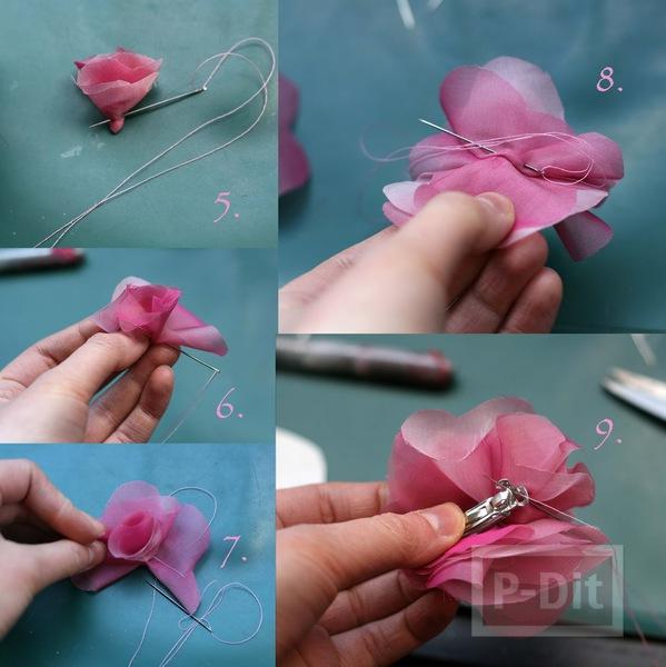 รูป 5 กิ๊บติดผม ทำจากผ้าสีสวย เย็บติดเป็นดอกไม้