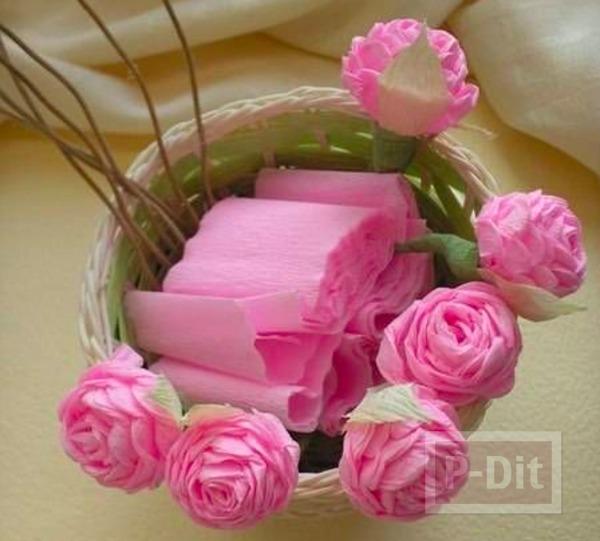 รูป 1 ดอกกุหลาบแสนสวย ทำจากกระดาษย่น
