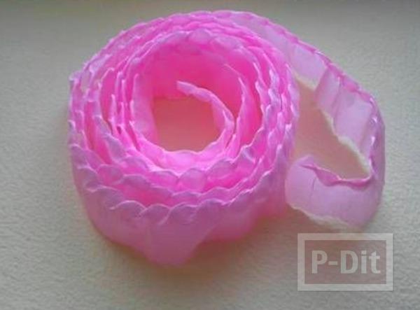 รูป 5 ดอกกุหลาบแสนสวย ทำจากกระดาษย่น