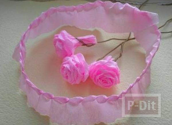 รูป 6 ดอกกุหลาบแสนสวย ทำจากกระดาษย่น