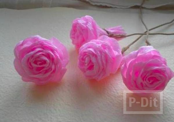 รูป 7 ดอกกุหลาบแสนสวย ทำจากกระดาษย่น