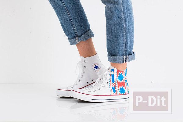 รูป 2 ระบายสี ตกแต่งรองเท้าผ้าใบ คู่สวย