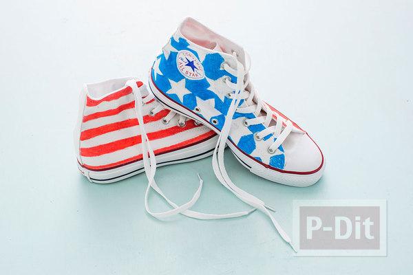รูป 7 ระบายสี ตกแต่งรองเท้าผ้าใบ คู่สวย