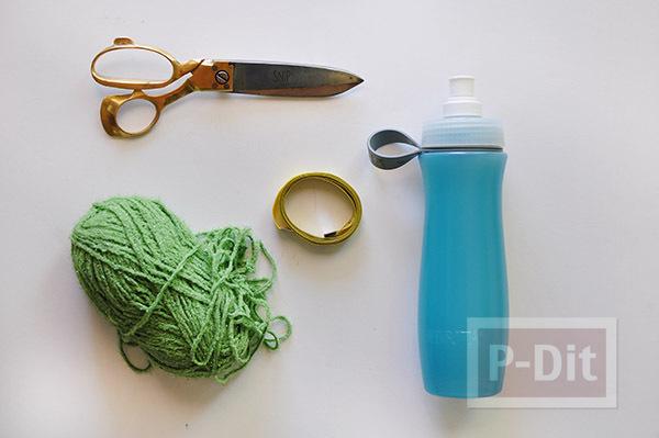 รูป 3 ถักถุงใส่ขวดน้ำ จากไหมพรม