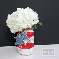 แจกันดอกไม้ ทำจากขวดแก้ว เก่าเก็บ