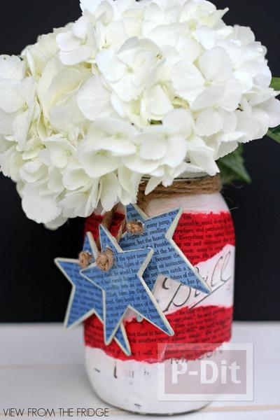 รูป 3 แจกันดอกไม้ ทำจากขวดแก้ว เก่าเก็บ