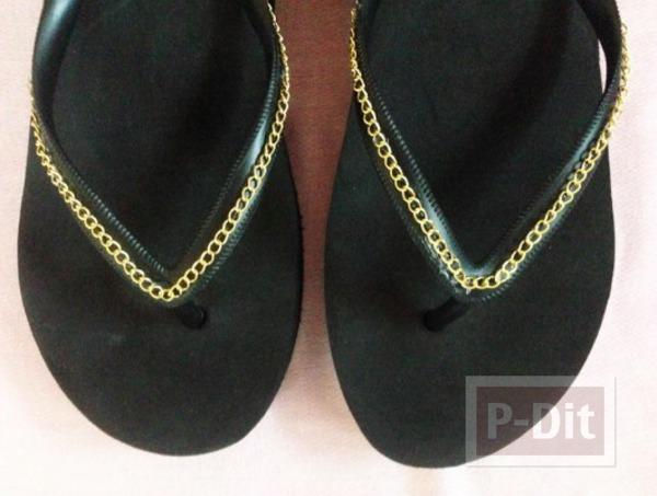 รองเท้าแตะ ตกแต่งสวยๆ ประดับโซ่ ติดกาว