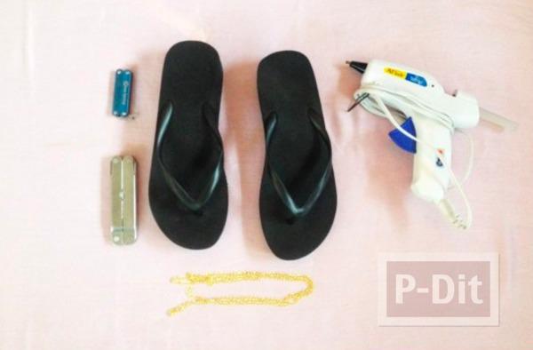 รูป 2 รองเท้าแตะ ตกแต่งสวยๆ ประดับโซ่ ติดกาว