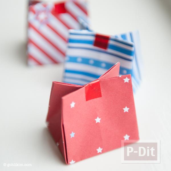 รูป 3 พับถุงกระดาษ ใส่ของขวัญ ลายน่ารักๆ
