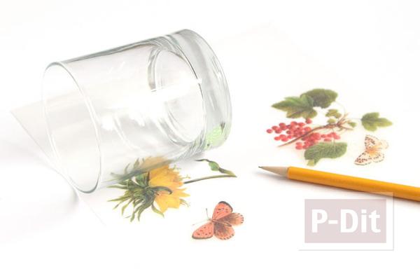 รูป 3 ตกแต่งแก้วเทียน ประดับกระดาษ ลายดอก